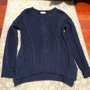 Open knit navy sweater
